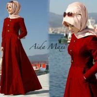 HJ AIDA MARON,2in1 ,katun denim muslim baju long dress wanita modis