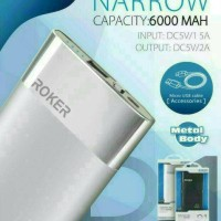 Powerbank Roker R1 Narrow 6000mAh Slim Original Power Bank 6000 mAh