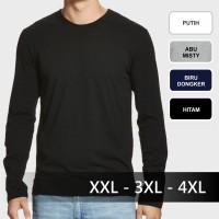 Jual Jumbo Size - Kaos Polos Lengan Panjang Katun Big Size Jumbo Murah