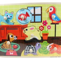 Jual Puzzle Kayu Pin Knob Knop Hewan Peliharaan Mainan Edukasi Anak PP-021 Murah