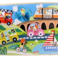 Jual Puzzle Kayu Pin Knob Knop Kendaraan Mainan Edukasi Anak PP-025 Murah