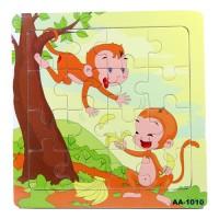 Jual Puzzle Jigsaw Kayu 16pcs Mainan Edukasi Anak Balita 4x4 Kera PK-157 Murah