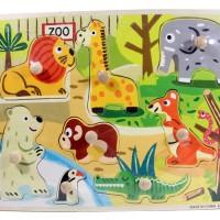 Jual Puzzle Kayu Pin Knob Knop Kebun Binatang Mainan Edukasi Anak PP-027 Murah