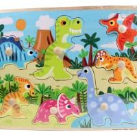 Jual Puzzle Kayu Pin Knob Knop Dinosaurus Mainan Edukasi Anak PP-026 Murah