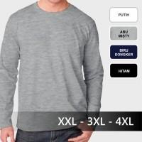 Jual 3XL / 4XL (XXXL) - Baju kaos polos lengan panjang cowok jumbo big size Murah