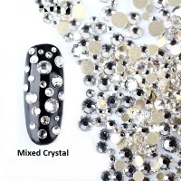 1000 BUTIR - CLEAR WHITE MIX SIZE CRYSTAL RHINESTONE NAIL ART KUKU DIY