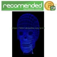 Portable 3D Illusion Skull Shape Night Lamp LED /  Lampu 3D Desain Ten
