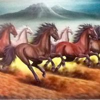 Lukisan Kuda Lari 135x85 Feng Shui Kekayaan Berlimpah Pembawa Rejeki3