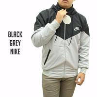 Jaket Nike Windrunner Parasut Despo Hitam Abu / Jaket Sport Hoodie