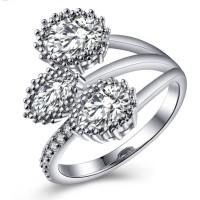 Cincin Berlian Silver Emas Putih (Perhiasan Imitasi Wanita) - BR091