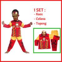 Jual Promo Baju Kaos Anak Kostum Topeng Superhero Iron Man/ Laki laki/Murah Murah