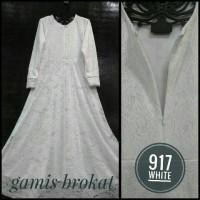 Gamis Brokat Putih motif terbaru #917/Baju Busana muslimah terbaru