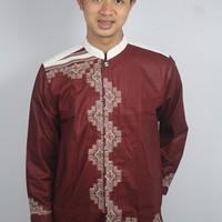 Baju Muslim Koko Warna Merah list Putih/ Trendy/ Bermerk