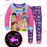 S-gw8-k Glow In The Dark - Piyama Anak - Disney Tsum Tsum 95-140