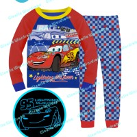 S-gw8-e Glow In The Dark - Piyama Anak - Cars Lightning Mcqueen 95-140