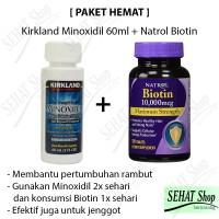 PAKET HEMAT 1 Botol Kirkland Minoxidil + Natrol Biotin 10000mcg