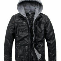 Jual jaket semi kulit topi/jaket ggs/ jaket kulit kupluk/jaket keren Murah
