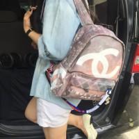 Chanel Graffiti Backpack Tas Ransel Wanita Semi Premium Cream