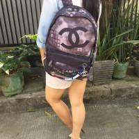Chanel Graffiti Backpack Tas Ransel Wanita Semi Premium Ungu Tua