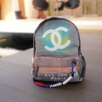 Chanel Graffiti Backpack Tas Ransel Wanita Semi Premium Abu abu