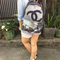 Chanel Graffiti Backpack Tas Ransel Wanita Semi Premium Putih