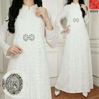 Big-Baju Pesta Muslim Gamis Putih Elegan Bahan Brokat dan Silk Sutera