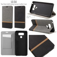 LG G6 Canvas Leather Flip Soft Cover Casing Case Dompet Sarung Kulit