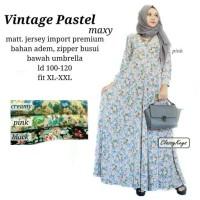 Baju Terusan Wanita Muslim Longdress Vintage Pastel