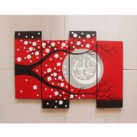 Jual lukisan bunga sakura kaligrafi merah Murah