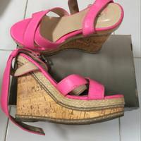 Jual wedges high heels second sepatu flatshoes bekas wedges pink Murah