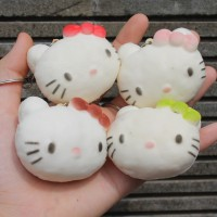squishy hello kitty head bun , ada slime , squezze toy , splat toy jg