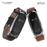 Jual Mijobs Genuine Leather Strap Kulit Plus for Xiaomi Mi Band 2 Original Murah