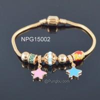 Gelang bandul bintang bola lapis emas NPG15002