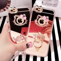Jual Softcase Oppo F3 Plus F3+ Hello Kitty Mirror Stand Holder Diamond Case Murah