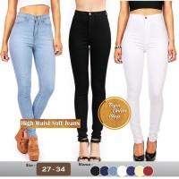 Jual Celana Jeans Wanita HW High Waist Highwaist one buton Soft Jeans Murah