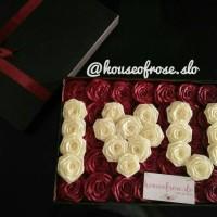 Jual Buket bunga box satin 3 huruf / kado bunga / hadiah unik Murah