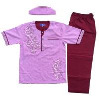 Baju Muslim Koko Anak Laki-Laki Stelan Setelan Set Peci PT6-2