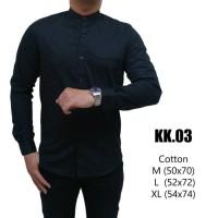 Jual kemeja pria warna hitam lengan panjang kerah shanghai model baju koko Murah