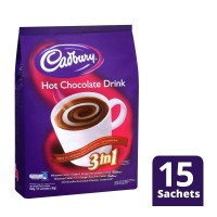 Cadbury Hot Chocolate 3 In 1 Isi 15 Sachets