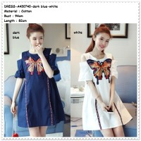 Butterfly Mini Dress Off Shoulder Sabrina Baju Wanita Korea Import
