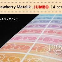 Strawberry Metalik JUMBO Stiker Label kosmetik botol besar kotak mika