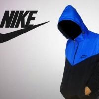 Jaket Parasut Nike Biru Hitam Kombinasi Windrunner Sport Olahraga Lari