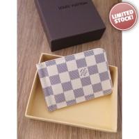 Dompet Pria Branded - Louis Vuitton White D63 Money Clip