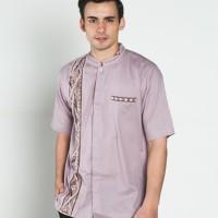 Baju koko batik, busana muslim pria kualitas premium TN 38 ungu muda