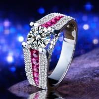 Cincin Berlian Silver Imitasi Lapis Emas Putih (Pink Fuschia) - BR082A