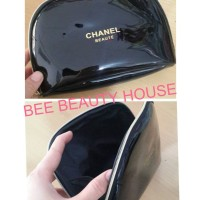 Small Pouch makeup tas kosmetik chanel glossy semicircle list gold