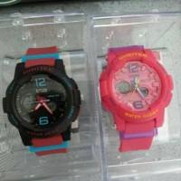 Jam tangan digitec wanita sport dg 2073 t original black red and pink