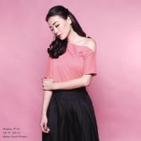 Jual Ready Blouse Wanita Murah Surabaya Timber One Shoulder Top Coral Murah