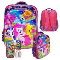 Tas Anak Ransel SD My Little Pony 5D Timbul Import &Kotak Pensil Timbu