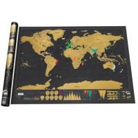 Black Scratch Off World Map / Sticker Peta Dunia / Sticker Gosok